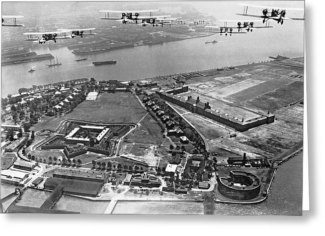 Governor Island Greeting Cards - Bombers Over Governors Island Greeting Card by Underwood Archives