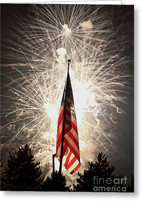 4th July Greeting Cards - Bombs bursting in air Greeting Card by Alan Look