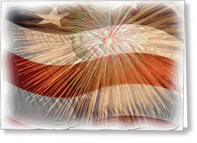 4th July Greeting Cards - Bombs Bursting In Air Greeting Card by Heidi Smith
