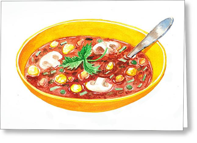 Buon Greeting Cards - Bon Appetit A Bowl Of Soup Greeting Card by Irina Sztukowski