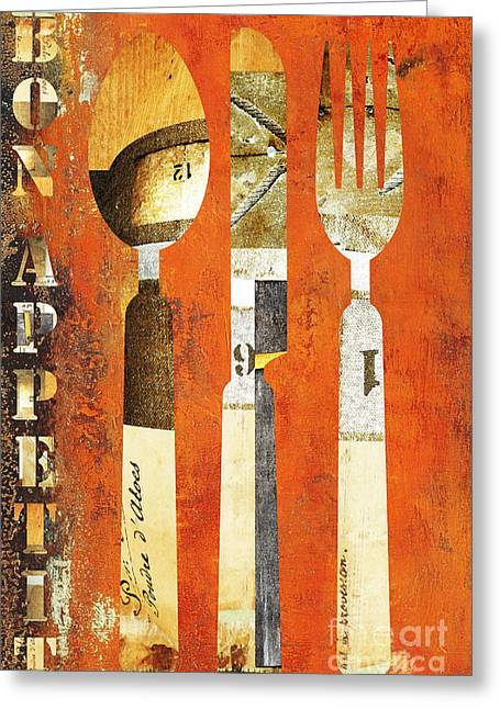 Advertising Mixed Media Greeting Cards - Bon Appetit Rustic Industrial Utensils Greeting Card by AdSpice Studios