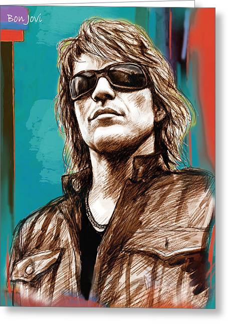 Lead Singer Greeting Cards - Bon Jovi long stylised drawing art poster Greeting Card by Kim Wang