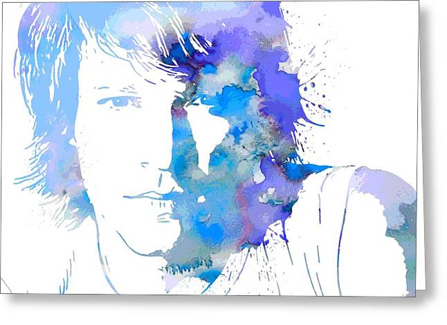 Hard Rock Mixed Media Greeting Cards - Bon Jovi Paint Splatter Portrait Greeting Card by Dan Sproul