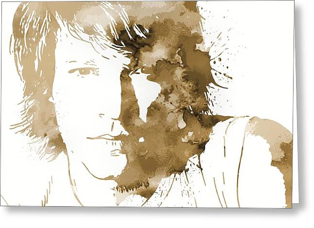 Rock N Roll Greeting Cards - Bon Jovi Paint Splatter Sepia Greeting Card by Dan Sproul