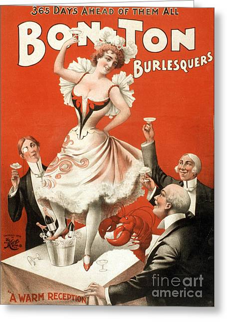 Men Drinking Greeting Cards - Bon Ton Burlesquers, 1898 Greeting Card by Photo Researchers