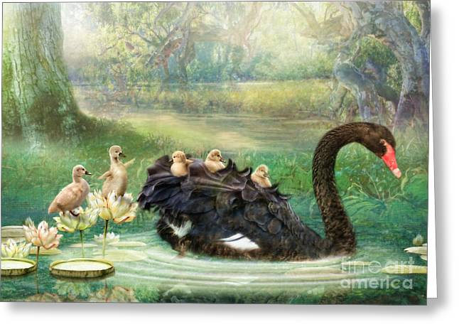 Black Swans Greeting Cards - Bon Voyage  Greeting Card by Trudi Simmonds