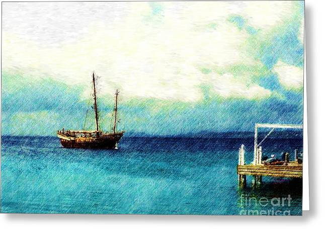 Sailboats Docked Drawings Greeting Cards - Bonaire Greeting Card by Donna Lee Wondol
