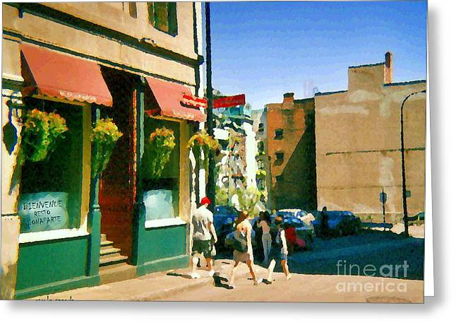 Old Montreal Greeting Cards - Bonaparte 4 Star Classic French Resto Vieux Montreal Paris Style Bistro Paintings Carole Spandau Art Greeting Card by Carole Spandau