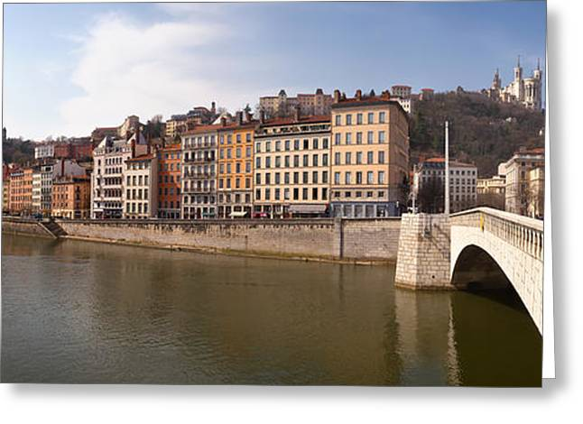 Lyon Greeting Cards - Bonaparte Bridge Over The Saone River Greeting Card by Panoramic Images