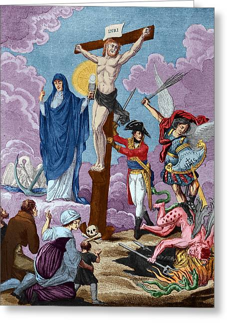 Calvary Greeting Cards - Bonaparte, Restorer Of Religion And Supporting The Cross, Allegory On The Concordat, 1802 Coloured Greeting Card by French School