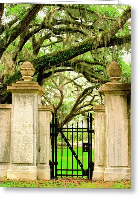 Bonaventure Greeting Cards - BONAVENTURE GATE Savannah GA Greeting Card by William Dey