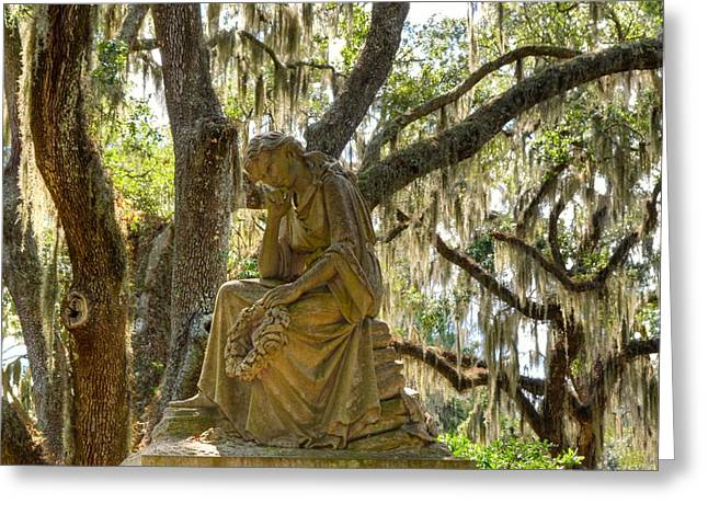 Historic Site Greeting Cards - Bonaventure Cemetery statue Greeting Card by Linda Covino