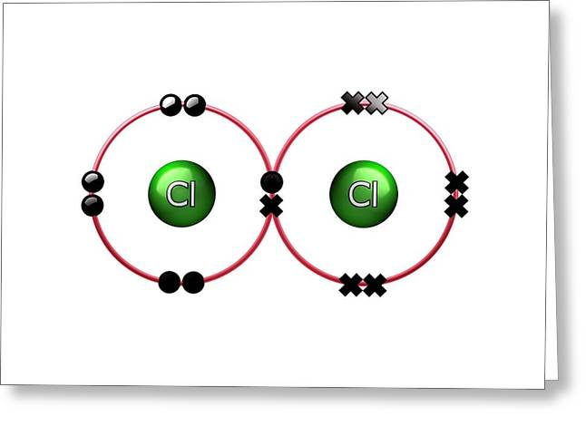 Bond Formation In Chlorine Molecule Greeting Card by Animate4.com/science Photo Libary