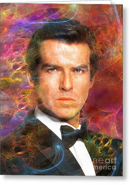 Robert R Mixed Media Greeting Cards - Bond - James Bond 5 Greeting Card by John Robert Beck