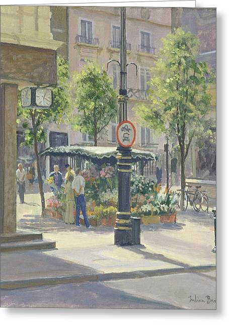 West End Greeting Cards - Bond Street Flowerstall Oil On Canvas Greeting Card by Julian Barrow