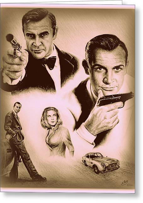 Movie Drawings Greeting Cards - Bond The golden years Greeting Card by Andrew Read