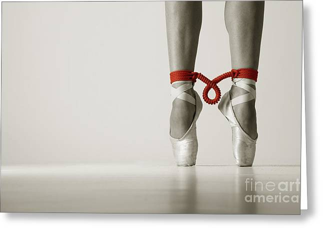 Ballet Shoes Greeting Cards - Bondage on pointe Greeting Card by John Tisbury