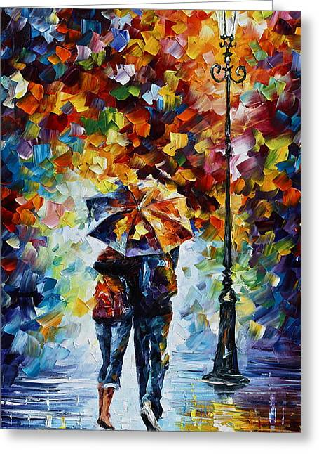 Park Lights Greeting Cards - Bonded By Rain 2 Greeting Card by Leonid Afremov