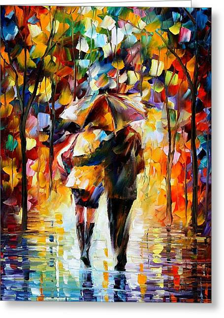 Sizes Greeting Cards - Bonded By The Rain 2 - PALETTE KNIFE Oil Painting On Canvas By Leonid Afremov Greeting Card by Leonid Afremov