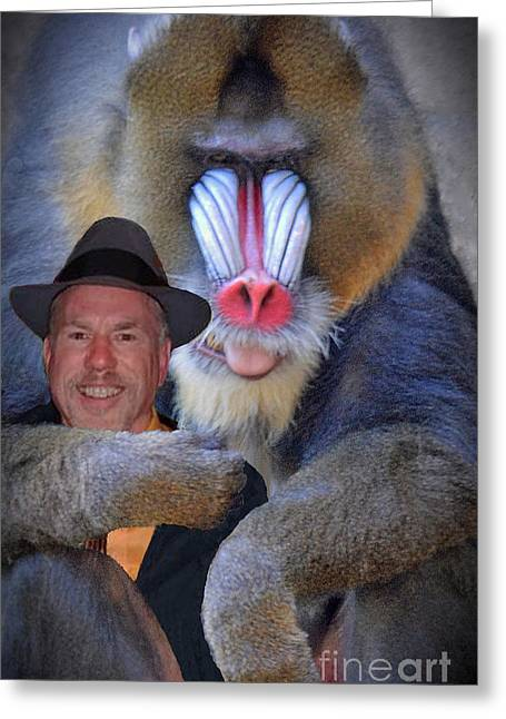 Bonding Digital Art Greeting Cards - Bonding With My New Mandrill Buddy II Greeting Card by Jim Fitzpatrick