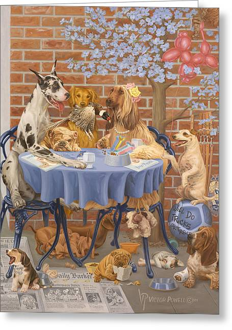 Puppies Paintings Greeting Cards - Bone Appetit Restaurant Greeting Card by Victor Powell