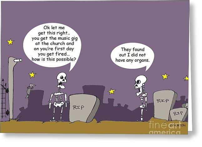 Tombstone Drawings Greeting Cards - Bone heads Greeting Card by Jack Norton