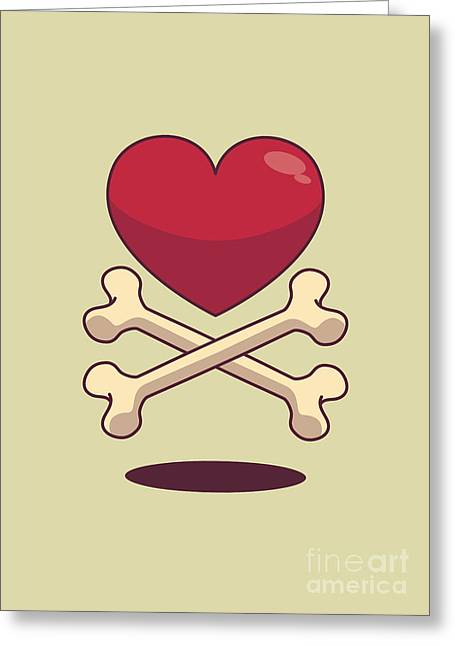Bones Greeting Cards - Bone up on love Greeting Card by Freshinkstain