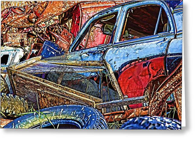 Rusted Cars Greeting Cards - Bone Yards Greeting Card by Kathy Bassett