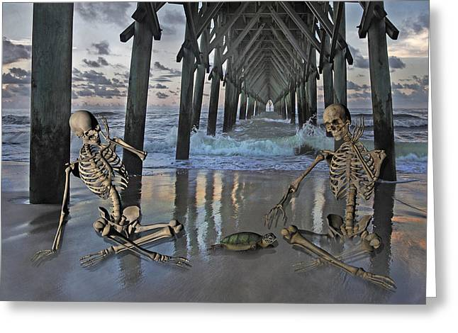 Topsail Island Greeting Cards - Bonefied Buddies Greeting Card by Betsy C  Knapp