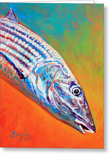Bonefish Greeting Cards - Bonefish Portrait Greeting Card by Savlen Art