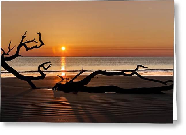 Bones Beach Sunrise Greeting Card by Debra and Dave Vanderlaan