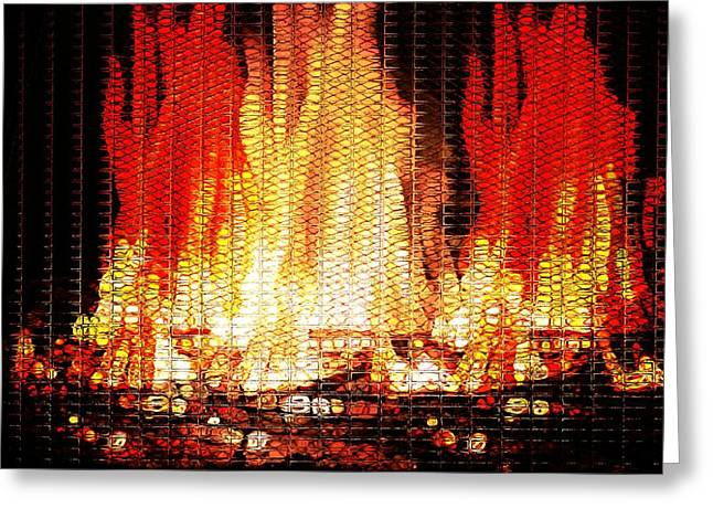 Detector Greeting Cards - Bonfire Mosaic Greeting Card by Dan Sproul