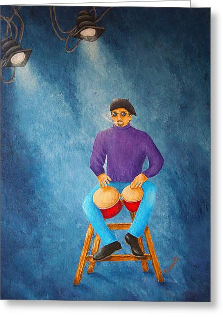 Greenwich Village Greeting Cards - Bongo Man Greeting Card by Pamela Allegretto