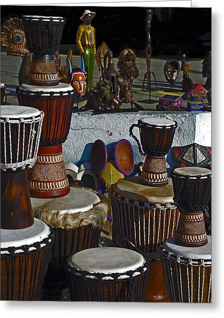 Rhythmic Greeting Cards - Bongos Bango and Things Greeting Card by Camille Lopez