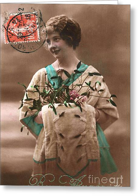 Cards Vintage Greeting Cards - Bonne annee vintage woman Greeting Card by Delphimages Photo Creations