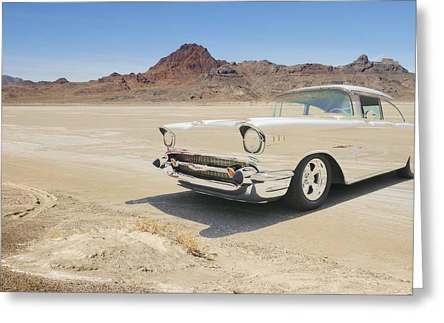 Salt Flats Racer Greeting Cards - Bonnevile El Mirage Greeting Card by Steve McKinzie