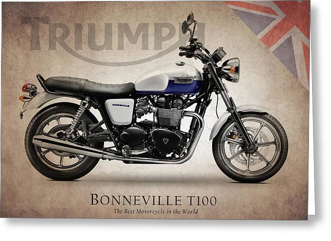 Motorcycles Greeting Cards - Bonneville T100 Greeting Card by Mark Rogan