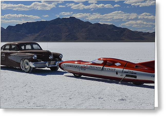 Land Speed Racing Greeting Cards - Bonneville Tucker n Triumph  Greeting Card by James La Mere