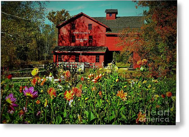 Indiana Autumn Greeting Cards - Bonneyville Grist Mill From Dahlia Garden Greeting Card by Rory Cubel