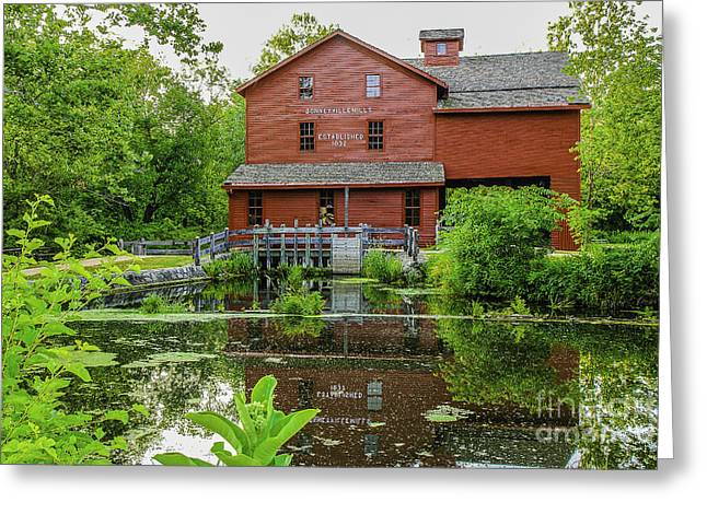 Red Roofed Barn Greeting Cards - Bonneyville Mill Greeting Card by Mary Carol Story