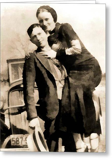 1933 Mixed Media Greeting Cards - Bonnie And Clyde Greeting Card by Dan Sproul