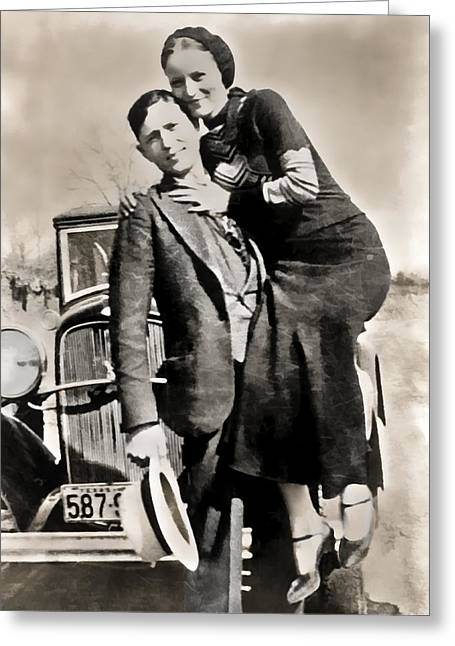American Automobiles Greeting Cards - BONNIE and CLYDE - TEXAS Greeting Card by Daniel Hagerman