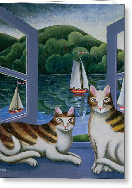 Bonny And Clyde Oil On Board Greeting Card by Jerzy Marek