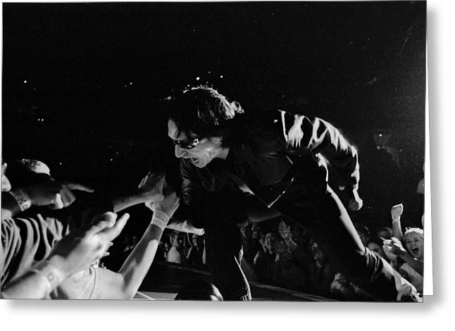 U2 Photographs Greeting Cards - Bono 051 Greeting Card by Timothy Bischoff