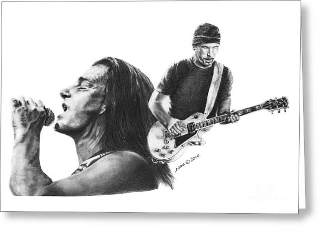 Nanas Art Greeting Cards - Bono and the Edge Greeting Card by Marianne NANA Betts