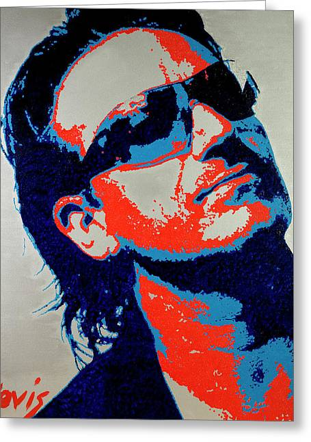 U2 Paintings Greeting Cards - Bono Greeting Card by Barry Novis