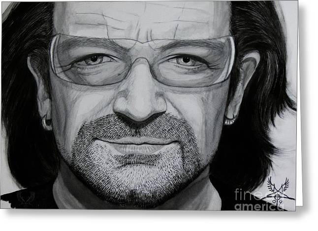 U2 Paintings Greeting Cards - Bono Carbon Ink Portrait Greeting Card by Dale Crum