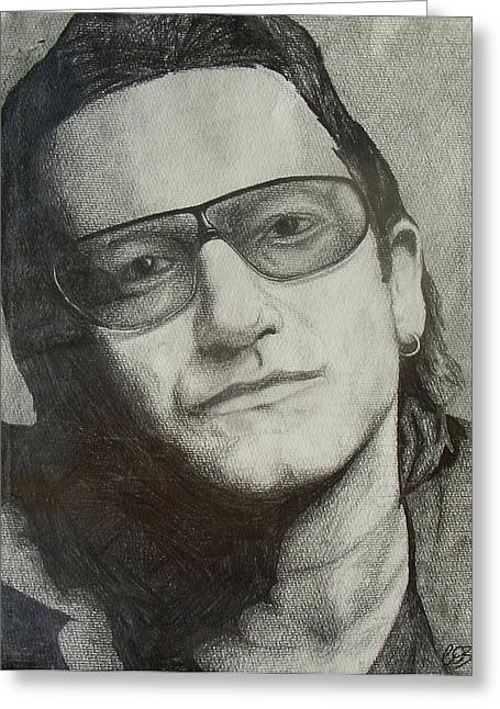 Cob Drawings Greeting Cards - Bono Greeting Card by Conor OBrien