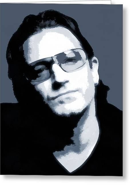 Irish Rock Band Greeting Cards - Bono Greeting Card by Dan Sproul
