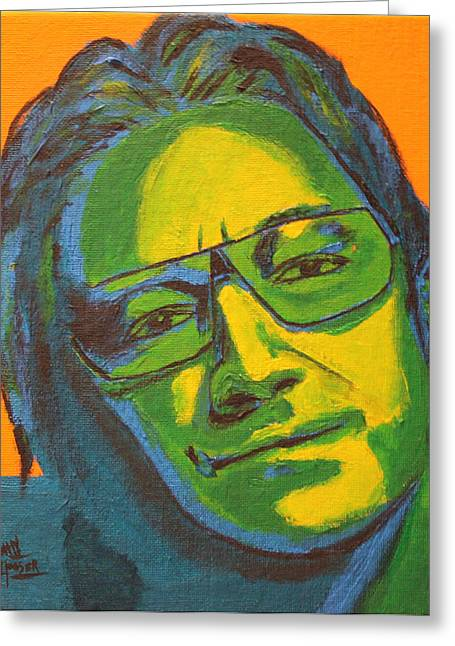U2 Paintings Greeting Cards - Bono Greeting Card by John Hooser